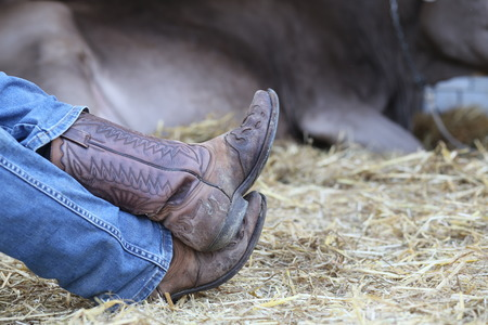 Cowboy Resting Feet, Close Up of Boots